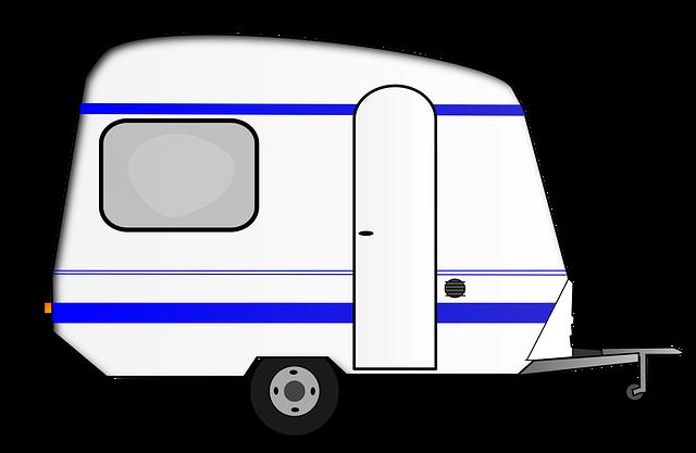karavan, bílomodrý