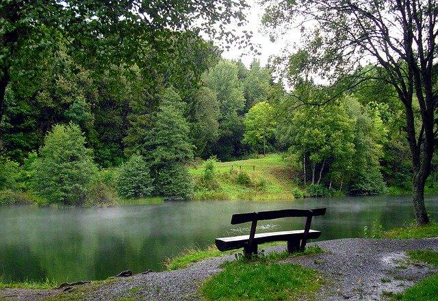 Příroda, jezero, lavička