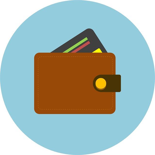 peněženka, kreditní karta, ikona